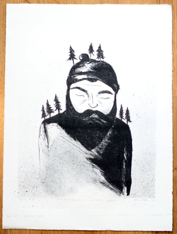 """This is a hand pulled original greyscale lithography art print on 300g Hahnemuhle paper.  Original artwork in finnish """"Maailmankaikkeus kadotkoon pyryyn"""", translated """"Shall snow devour Universe"""".   It is one in an edition of 8. Due to the nature of printmaking each print is slightly different as I have to ink up the stone by hand for each print. The print measures 38.5 x 31.7 cm ( ~15.1"""" x 12.5"""" )."""