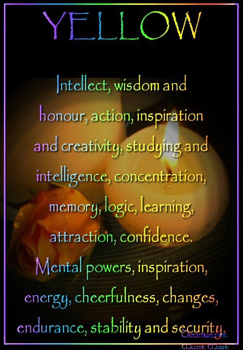 Candles:  Yellow #Candle ~ Intellect, wisdom and honor, action, inspiration and creativity, studying and intelligence, concentration, memory, logic, learning, attraction, confidence, Mental powers, inspiration, energy, cheerfulness, sunny disposition, changes, endurance, stability and security.