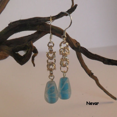 Blue Bead & Chainmail Earrings, Byzantine Weave Chain Maille