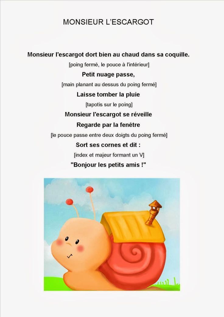 Les 69 meilleures images du tableau poemes sur pinterest - Escargot maternelle ...