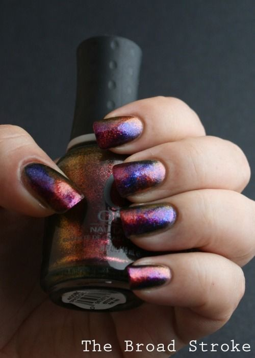 Really love this. Sponged nails: Orly Space Cadet, Orly Lunar Eclipse, OPI The One That Got Away and OPI Take The Stage