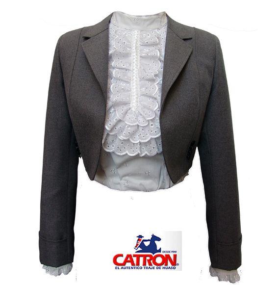 chaqueta gris dama