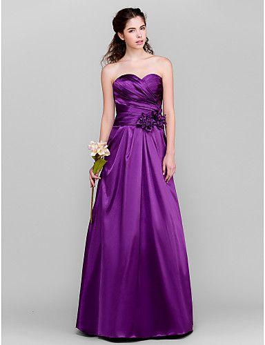 A-Line Sweetheart Floor Length Taffeta Bridesmaid Dress with Flower(s) Criss Cross by LAN TING BRIDE® £62.10