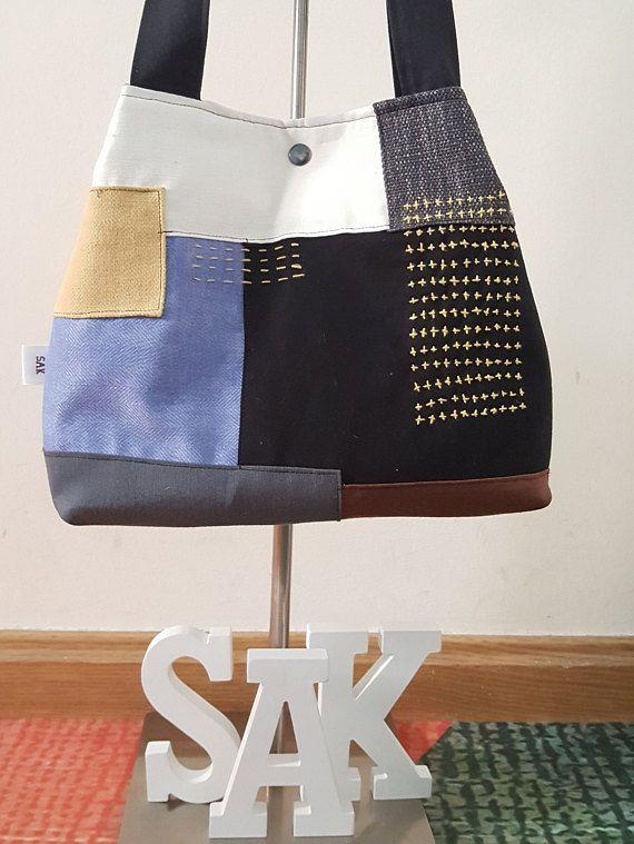 Bolso de tela modelo kokoro hecho a mano y modelo único.