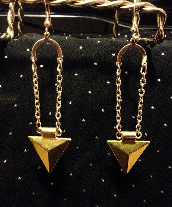 Metal triangle dangle earrings by CrowsNestArtistry on Etsy