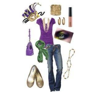 One of the best ways to dress for a Mardi Gras party is by choosing clothing that features green, gold or purple. Traditionally during Mardi Gras, purple symbolizes justice, green symbolizes faith and gold symbolized power. Even if you are not going all out, you can still be in the spirit of Mardi Gras by using these colors in your clothing selection. Have the right accessories. Masks are a common part of Mardi .