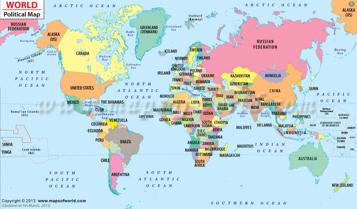 Political Map of the World good for explaining and having kid explain what a political map