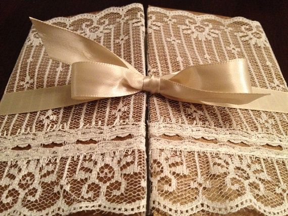 Gatefold Wedding Invitation Lace Wrapped von EmilysEnchantments, $7,50