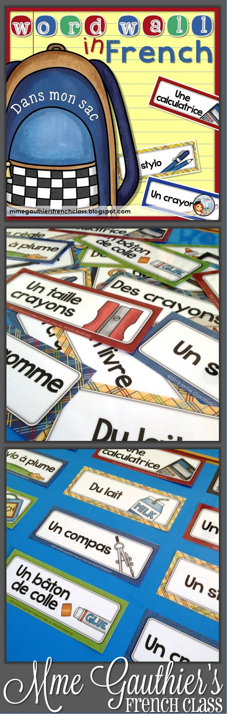 30 school-themed word wall cards, perfect to teach students school items in French!