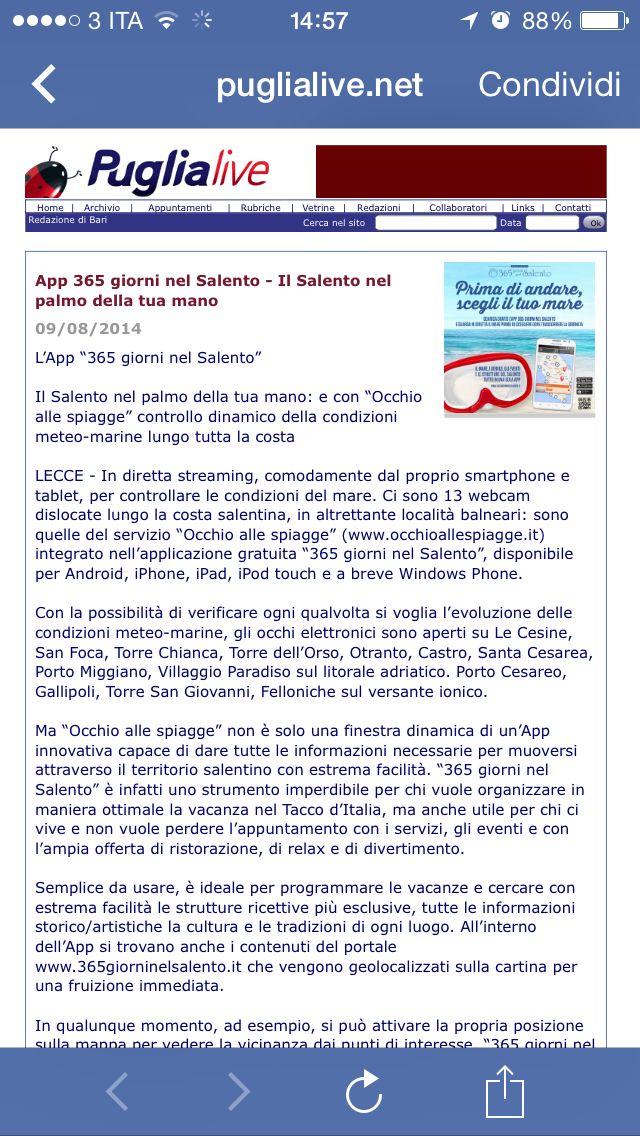 Puglialive.net parla di #365giorniNelSalento #app: #accoglienza, #gusto, #Attrattività, #Stabilimenti balneari, #webcam #live su 13 località balneari, #eventi e tutto ciò che vorreste saper del #Salento! #Download #now on http://www.365giorninelsalento.it/it/w/l_app