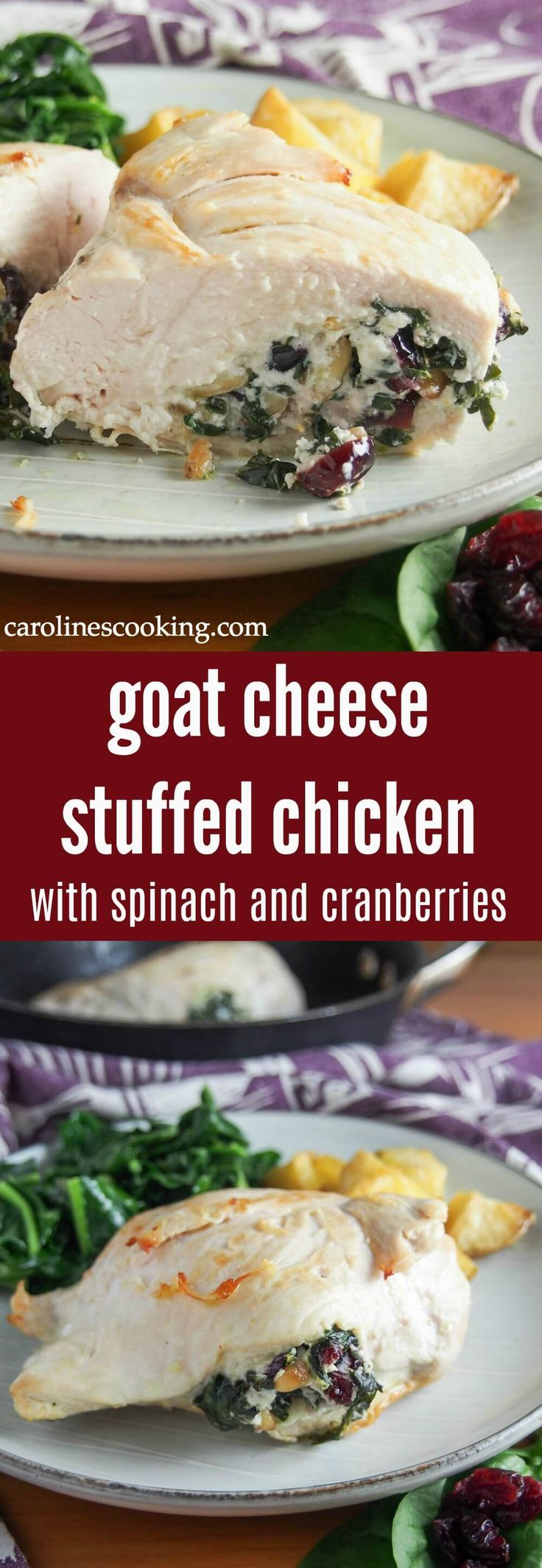 This goat cheese stuffed chicken with spinach and cranberries is deliciously comforting without being too heavy. It's fancy enough for a dinner party but quick enough for any night. AD #chicken #stuffedchicken #comfortfood