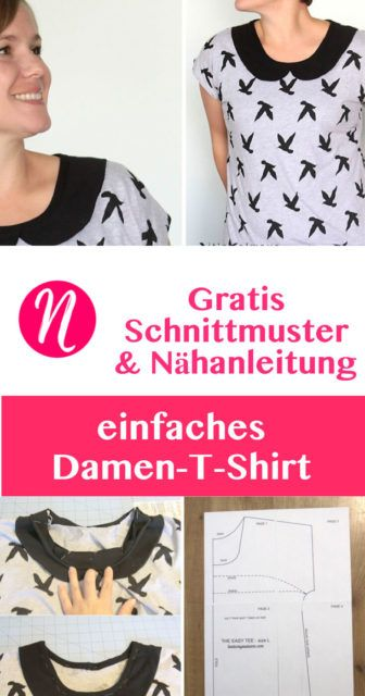 Kostenloses Schnittmuster für ein einfaches Damen-T-Shirt - mit oder ohne Peter-Pan-Kragen ❤ Größe L ❤ Nähtalente - Magazin für kostenlose Schnittmuster