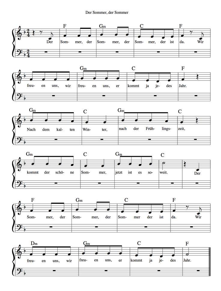 Ein kleines einfaches Sommerlied... | Lieder ...