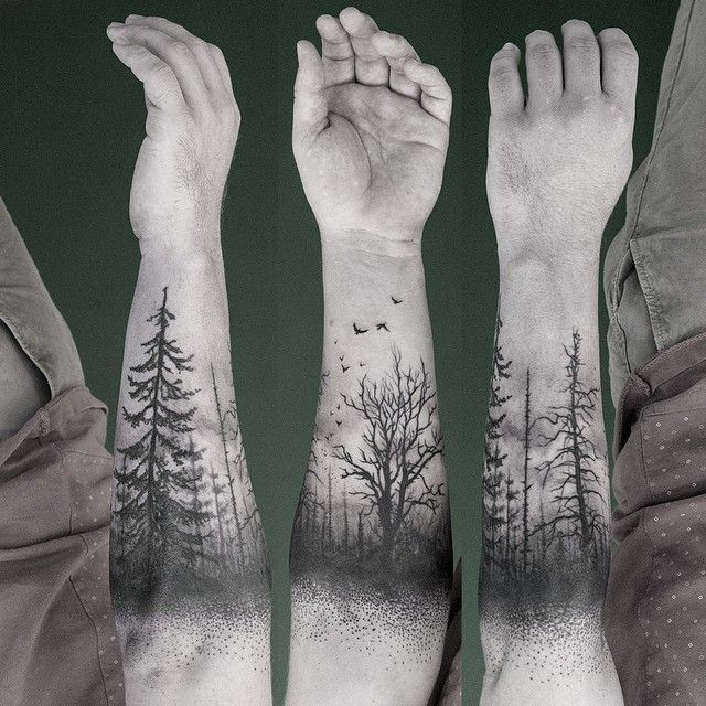 Trees forest black ink tattoo winter death birds