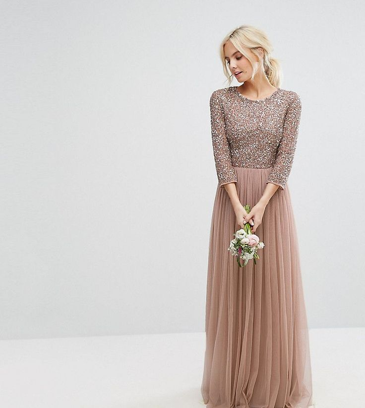 Maya Petite 3/4 Sleeve Maxi Dress With Delicate Sequin And Tulle Skirt