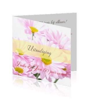 Jubileum huwelijk 50 jaar kaarten met bloemen zelf maken.