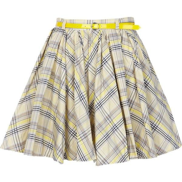 River Island Yellow check skater skirt ($19) ❤ liked on Polyvore featuring skirts, saias, bottoms, faldas, gonne, river island, belted mini skirt, mini skater skirt, circle skirts and flared skirt