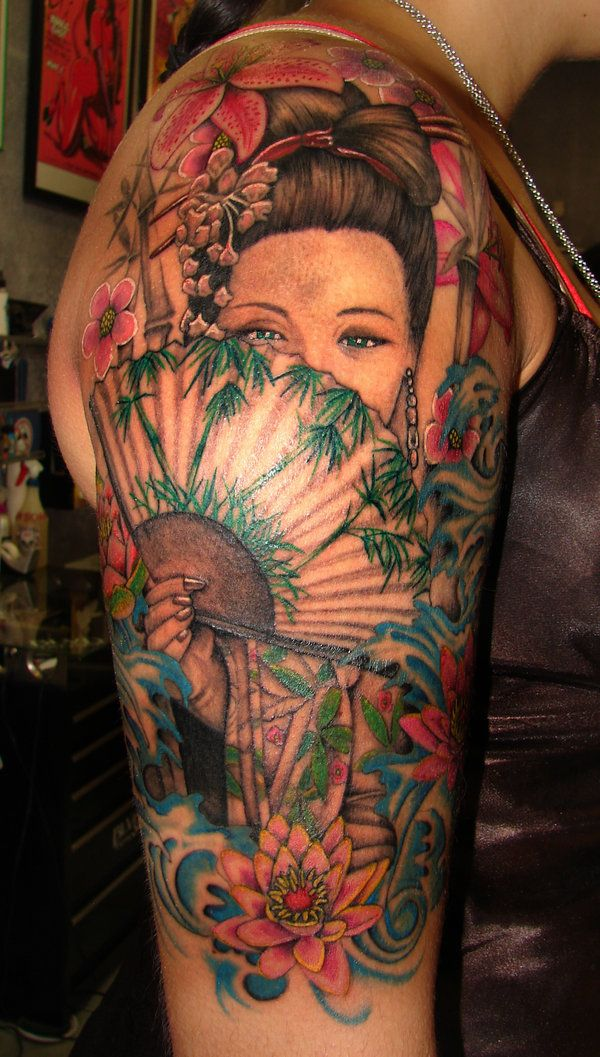 color tattoos  | Color geisha woman tattoo Color geisha woman tattoo