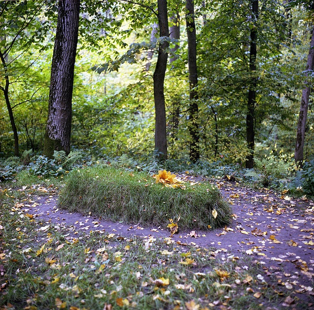Leo Tolstoy's grave, located on the Tolstoy estate at Yasnaya Polyana, near Tula, Russia.