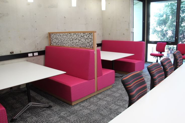 Brisbane's QUT library refurbishment featured brightly-coloured booth seating custom-made by Eurofurn.