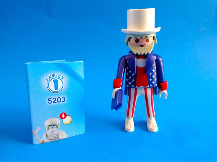 Playmobil  Figures serie 1 Uncle Sam  - americano - con libro constitucíon  - Uncle Sam rare
