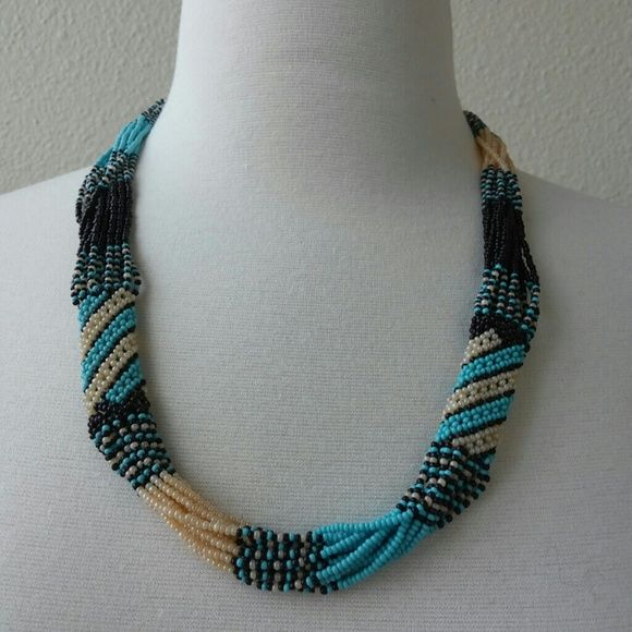 """NATIVE AMERICAN STYLE NECKLACE Please read descriptions carefully and ask questions before purchase.  I sell exclusively at Poshmark.   Plentiful of beads hand woven into a necklace. Blue color reflects Native American art works.  ?? Fair and reasonable offers accepted through """"Make an Offer"""" button. My prices are comparable with similar listing.  ?? Bundle to save shipping not deep discounting ?? Low balls ?? Trades ?? Re-Posher Jewelry Necklaces"""