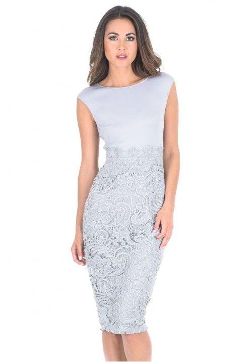 Grey Crochet Skirt Midi Dress