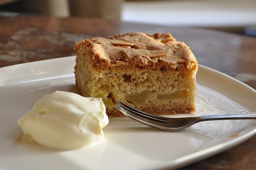 Devonshire apple cake (Mary Berry's recipe) served with clotted cream of course.