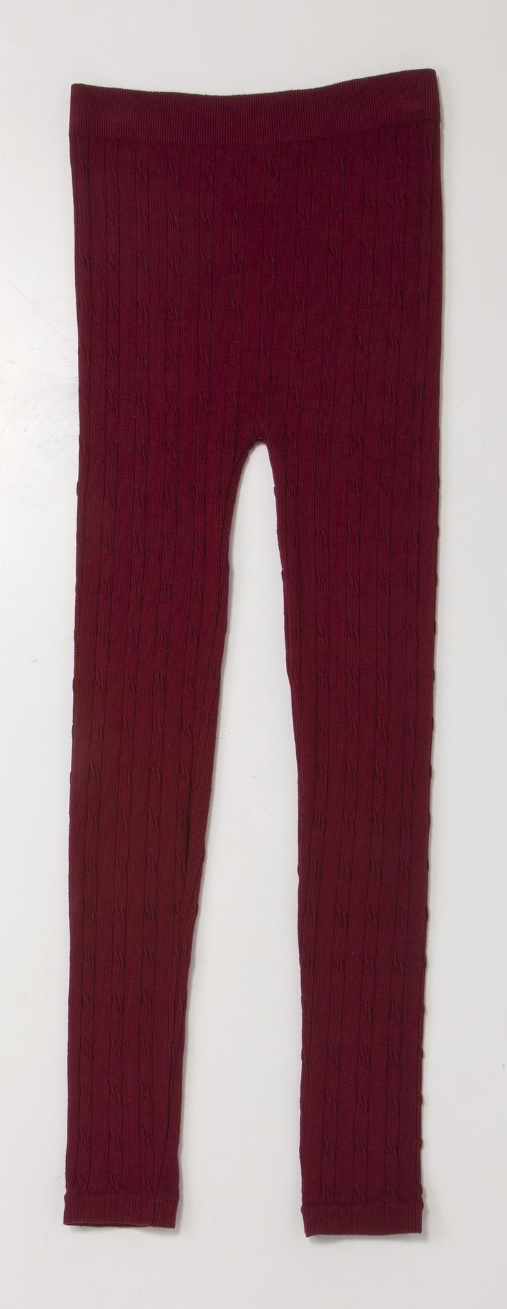 Burgundy Knit Leggings