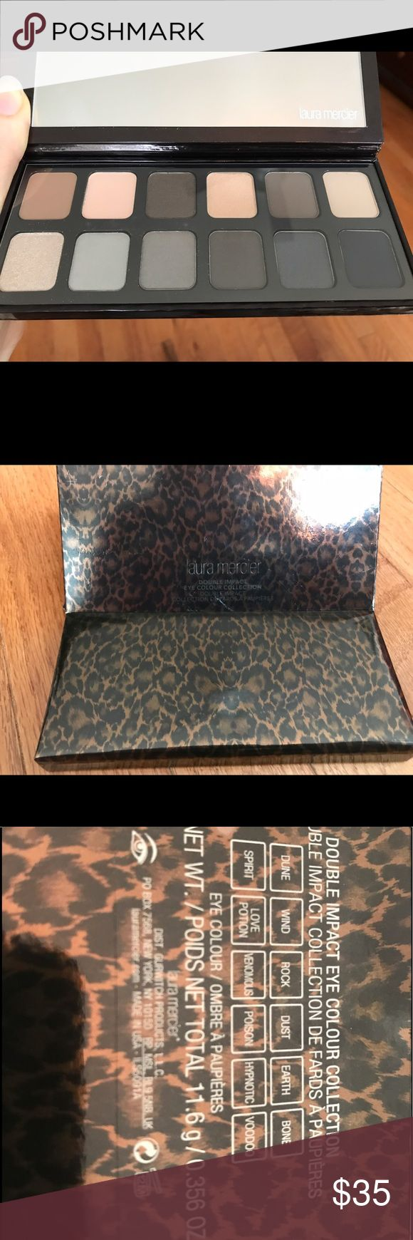 Laura Mercier Double Impact Eyeshadow palette Brand new in box- completely untouched - Laura Mercier eyeshadow palette. Mirrored palette with 12 total eye shadows. 9 sateen-shimmer shades from light to dark. Includes the following shades; Dune, wind, rock, dust, earth, bone, spirit, love potion, venomous, poison, hypnotic, voodoo. Protective film still on mirror. Laura Mercier Makeup Eyeshadow