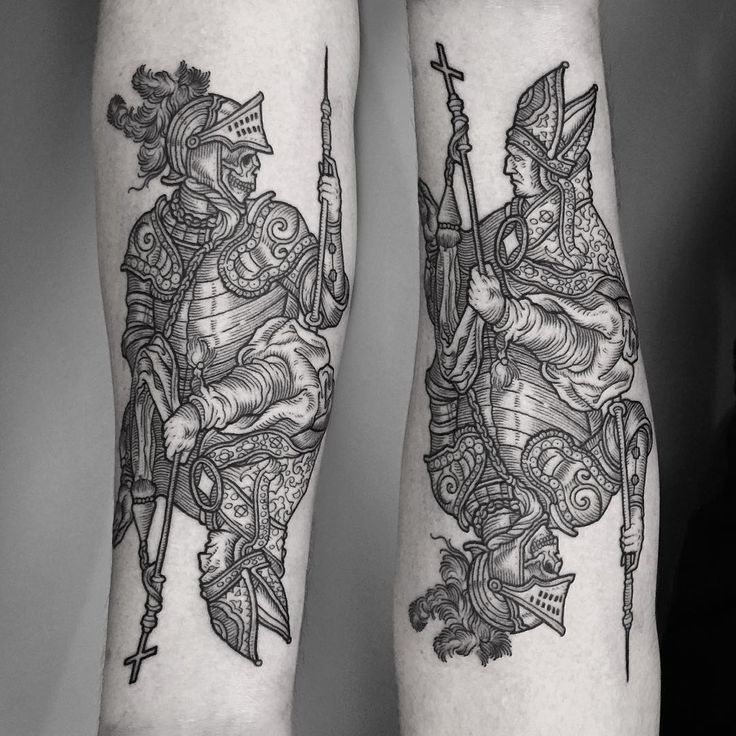 Skeleton knight and Bishop medieval style woodcut. Thanks again James! ⚔ #tattoo…
