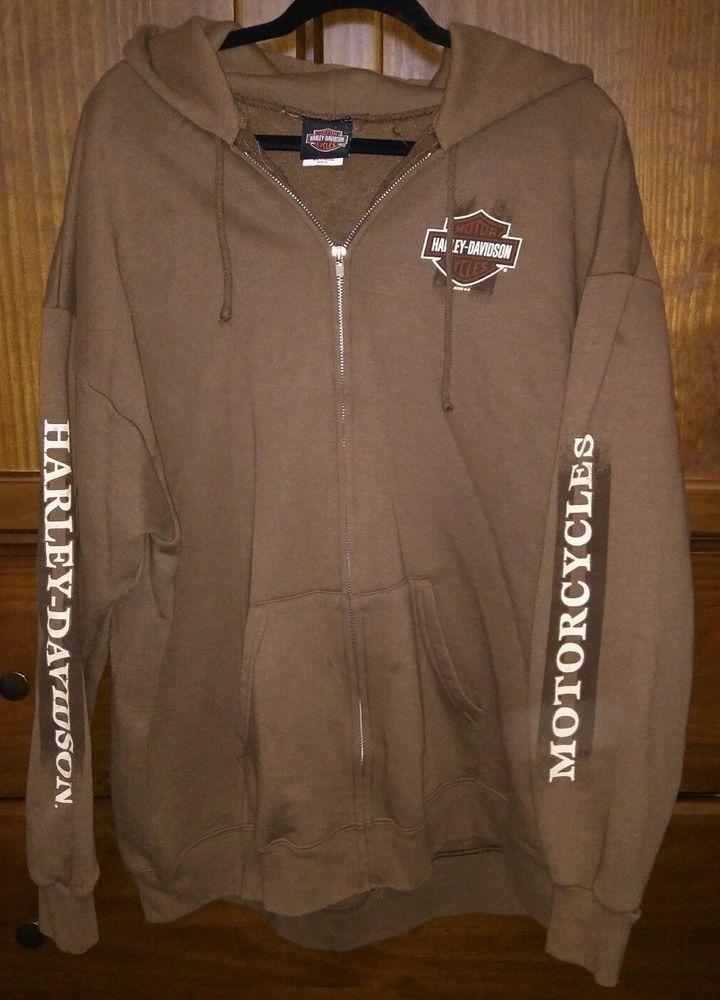 Harley Davidson Men's Full Zip Hoodie XL Charlotte NC Long Sleeve #HarleyDavidson #Hoodie