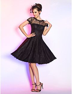 Homecoming Wedding Party/Cocktail Party/Homecoming Dress - Black Plus Sizes A-line Jewel Knee-length Lace