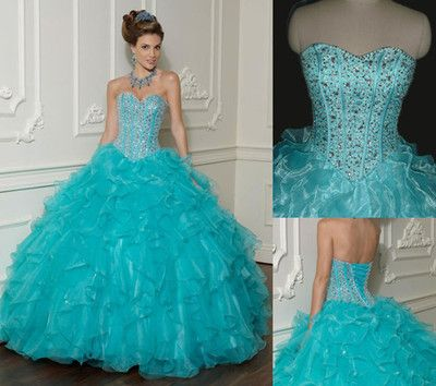 Fabulous !!!! Tiffany blue quincenera glam prom dress sweet heart neck line $450 check us out at www.facebook.com/houseofstyleformal
