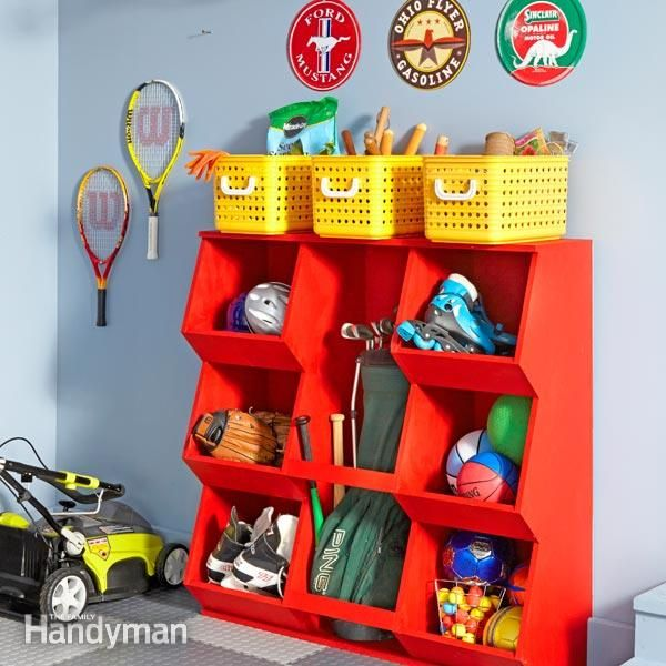 these bins are great for sports gear and handle all kinds of miscellaneous garage clutter.shelves and cabinets are great places to store kid stuff, but when you're in a hurry (and kids always are), it's nice to just throw and go.