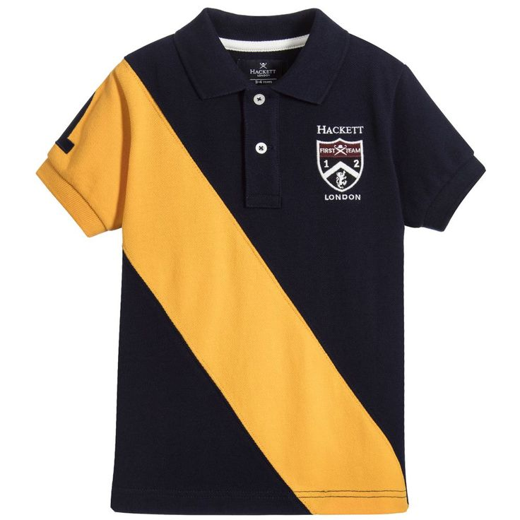 Hackett Boys Navy Blue Piqué Polo Shirt at Childrensalon.com