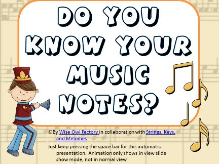 Free Power Point to explain music notes with work pages attached