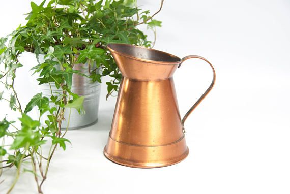 Vintage copper pitcher copper watering can rustic pitcher