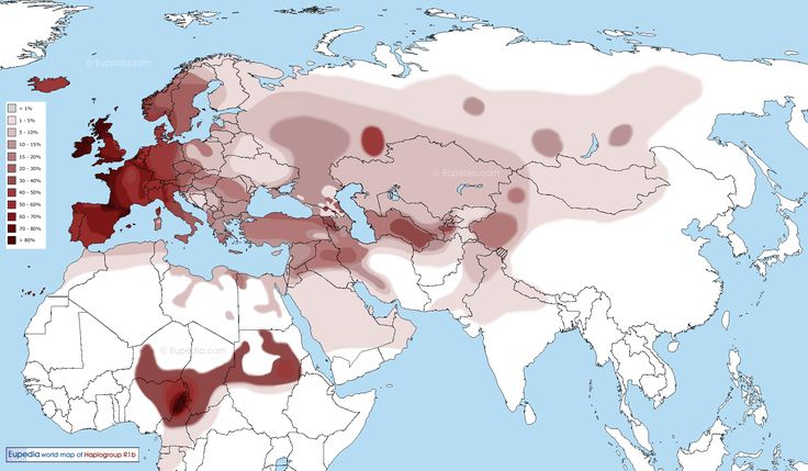 Distribution map of haplogroup R1b in the Old World (Eurasia and Africa) - Eupedia