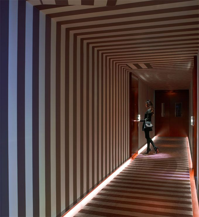 Le Royal Monceau Hotel, Paris - very hypnotic. Love the floor lighting: Galleries, Paris, Philippe Starck, Hallways, Backdrops, Royals Monceau, Stripes, Le Royals, Monceau Hotels