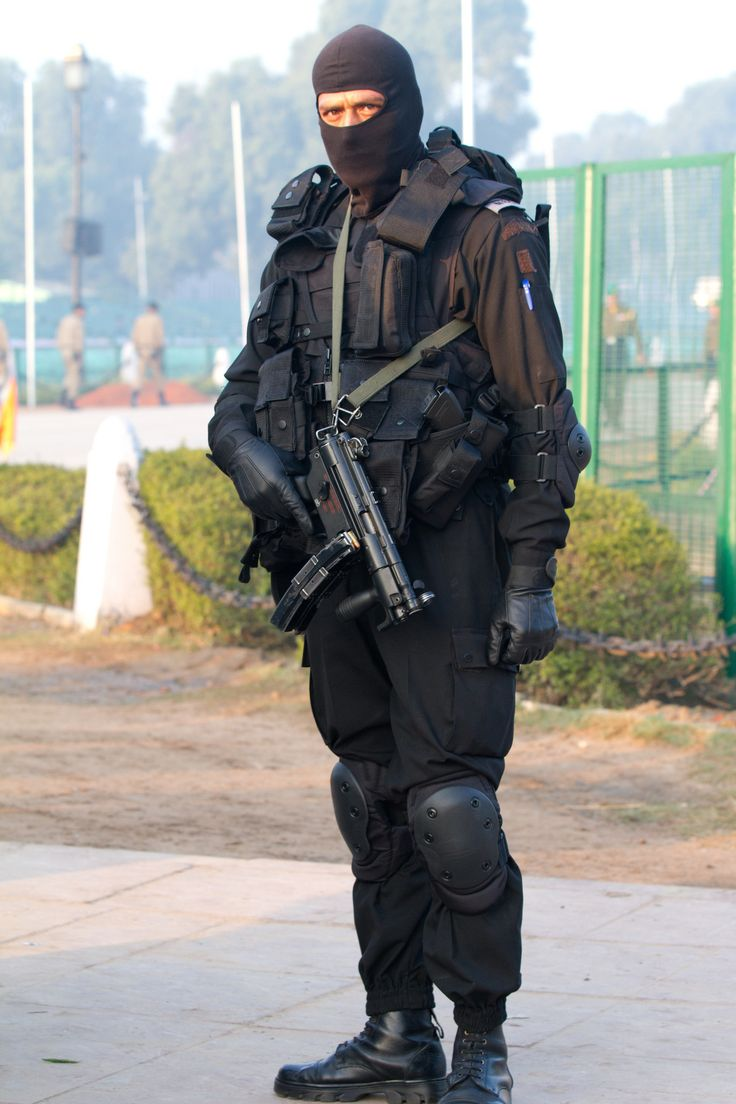A member of National Security Guard, Elite Counter-terror unit of India. The National Security Guard (NSG) is an Indian special forces unit under the Ministry of Home Affairs (MHA).