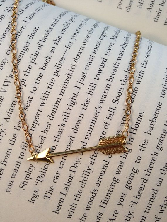 Arrow NecklaceGold Piercing Arrow Necklace by LayeredWithLove,