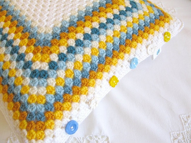 Retro Colour Crocheted Pillow with Buttons
