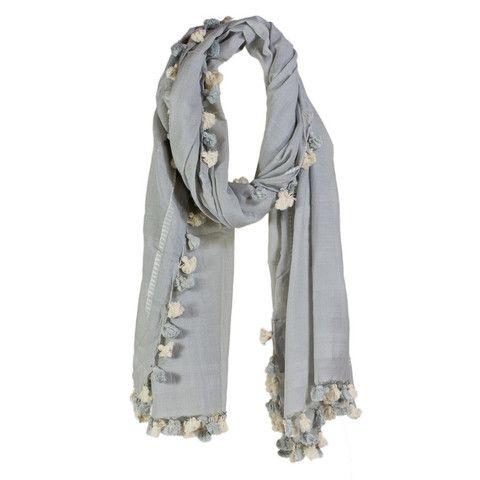 Lee Garrett - Isabel Pom Pom Scarf - Soft Grey – available at www.seasonsemporium.com