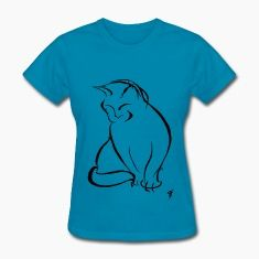 Kitty Cat DreamSplats t-shirt, based on an ink doodle art drawing of a sitting cat.