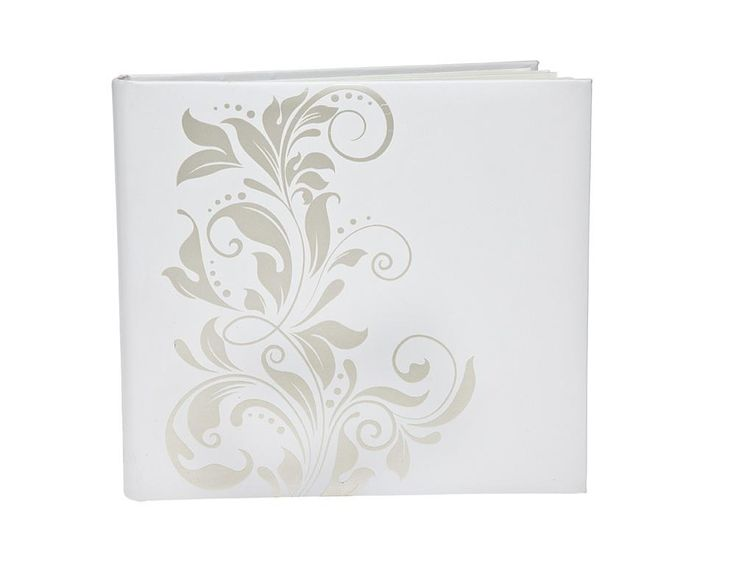 4X6 PHOTO ALBUM WHITE WITH SILVER IVERY (LARGE), HOLDS 500 PICTURES