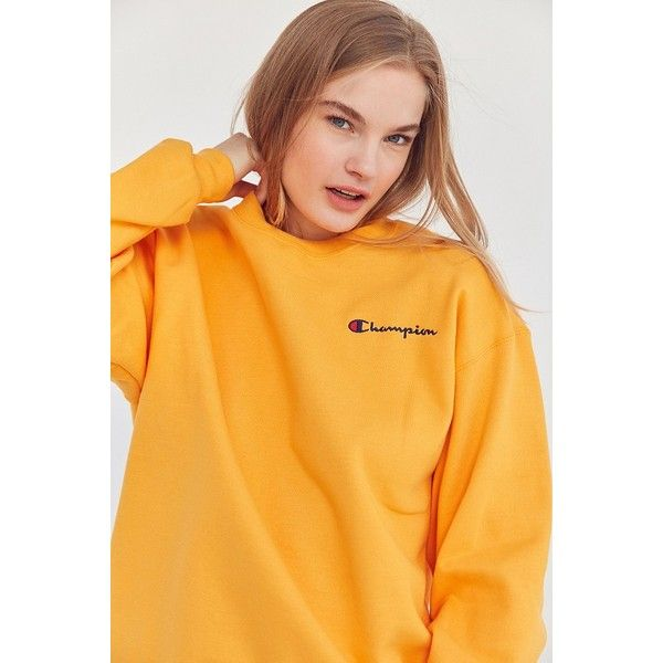 Champion + UO Mini Logo Crew-Neck Sweatshirt (£43) ❤ liked on Polyvore featuring tops, hoodies, sweatshirts, logo sweatshirts, yellow top, crewneck sweatshirt, crew neck sweatshirts and champion sweatshirt