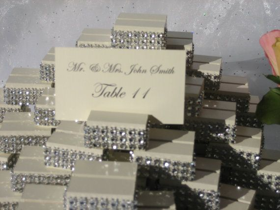 ivory wood place card holders trimmed with a crystal wrapset of 100 chic wedding