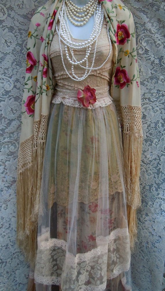 Beige tulle dress dress handmade by vintage opulence on Etsy The top is a soft tea stained lace with lining, sleeveless with a vintage lace sash