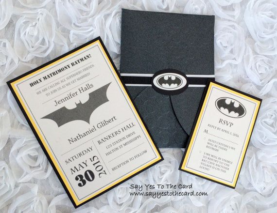 DIY Batman Wedding Invitation by SayYesToTheCard on Etsy                                                                                                                                                                                 More